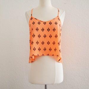 Tops - Neon Orange Print Crop Tank Top Size M